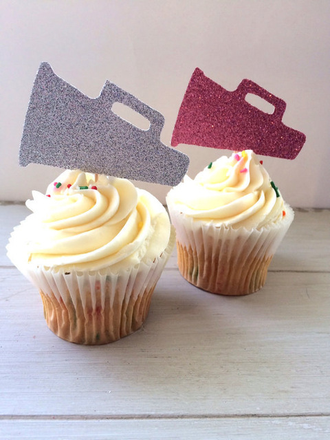 glitter cheerleading megaphone cupcake topper cheer sports stars party decorations wedding bridal shower treat picks in cake decorating supplies from home