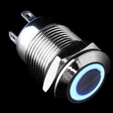 цена на New 12V/24V Car Metal Push Button Switch 12mm Aluminum LED Power Push Button Car Start Horn Speaker Bell Self-reset Switch