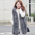 women high quality real fox vest medium-long full leather fur coat vests with a hood hat thick warm strip fashion slim wasitcoat