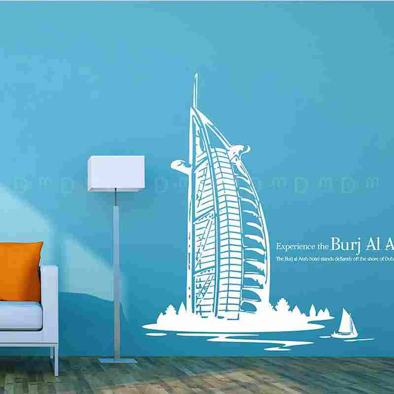 DCTAL Burj Al Arab Hotel Decal Landmark Dubai Wall Stickers Decals Poster Parede Home Decor Burj Al Arab Hotel Sticker