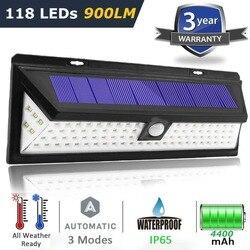 El más nuevo 3 modo impermeable 44 90 118 LED luz Solar energía Solar exterior jardín luz PIR Sensor de movimiento Pathway pared lámpara 3,7 V