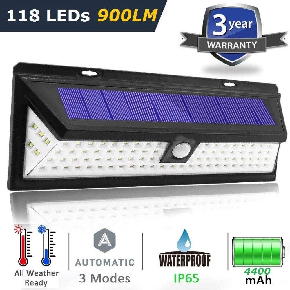 Neueste 3 Modus Wasserdichte 44 90 118 LED Solar Licht Solar Power Outdoor Garten Licht PIR Motion Sensor Pathway Wand lampe 3,7 v