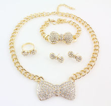 Luxury African Nigerian New Gold Plated Bib Choker Statement Rhinestone Crystal Bow Necklace Earrings Ring Bracelet Jewelry Set