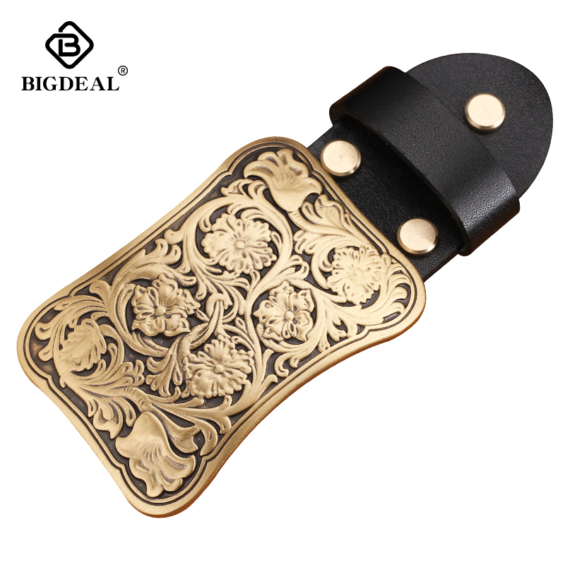 Wholesale High Quality Antique Vintage/Retro Flower Embossed Men's Solid Copper Brass Belt Buckle