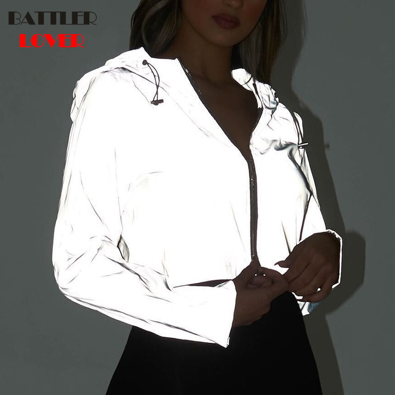 2019 Summer Light Reflective Cloth Short Jacket Women Fashion Zipper Motorcycle Biker Jacket Ladies Basic Dance Street Jackets