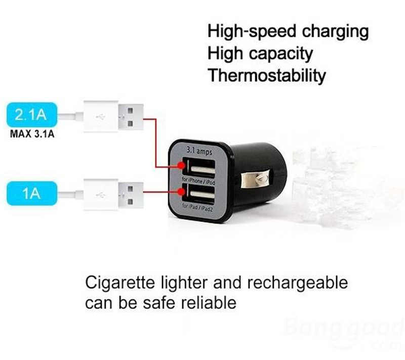 Cargador de coche Original Mini Dual 2 puertos adaptador de enchufe USB para iPhone 6 Plus 5C 4 SE teléfonos todos decives digitales de alta calidad
