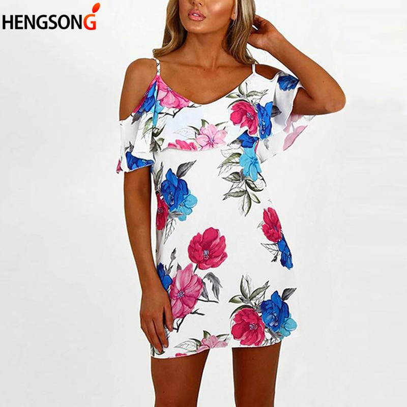 HENGSONG Women Sweet Ruffles Floral Spaghetti Straps Dress Sexy Off Shoulder Backless Short Sleeve Summer Casual Dresses 736943