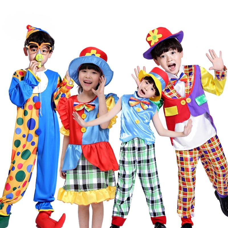 Новая детская одежда рекламные Хэллоуин Костюмы Клоуна магическое шоу одежда Маскарад клоун костюм детский день