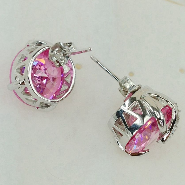 Fleure esme cute engagement wedding drop earrings jewelry earrings for women purple pink cubic zirconia rhodium plated r888 r891