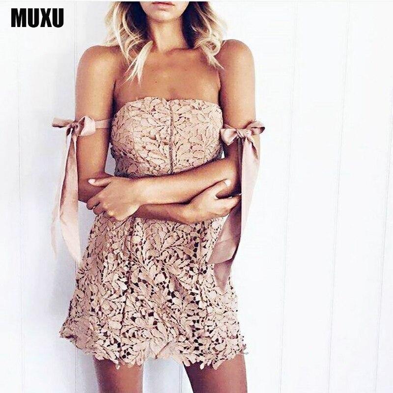 MUXU Backless Dress Sexy Lace Dress Summer Vestidos Party Dresses Cheap Clothes China Vestido De Festa Short Lace Vestidos Mujer