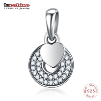 LZESHINE Authentic 925 Sterling Silver Love Heart Charm Fit Original Bracelets Fashion Dangle Pendant Jewelry Gift