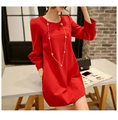 maternity clothes 2016 spring autumn new maternity Korean dress round neck stitching loose dress perspective Maternity clothing