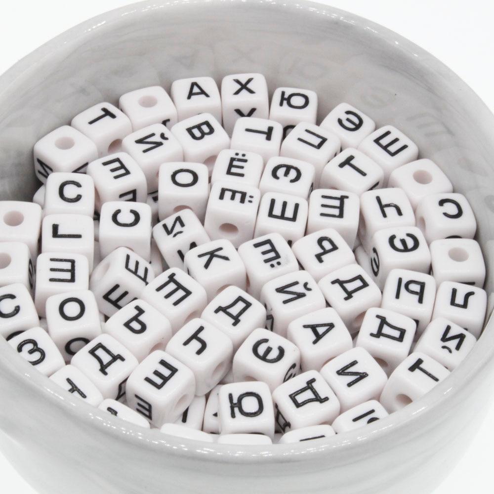 100 X Negro Acrílico Cubo alfabeto granos 6 mm mezcla aleatoria