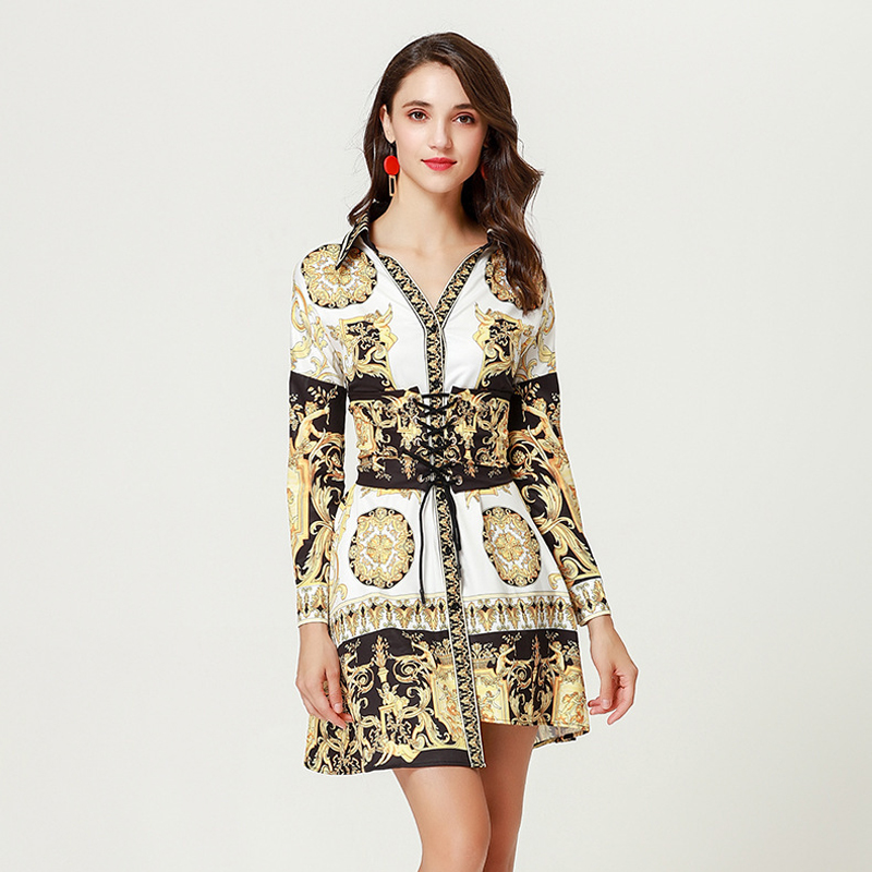 Piste À Impression Qualité Longues Manches Blanc V Femmes Baroque Printemps Vintage Robe Robes Designer Chemise Col Casual En Haute 2019 Yz0Sxn