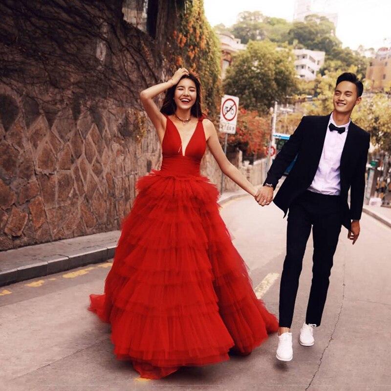 Sexy rouge robes de soirée 2019 élégant col en v robes de soirée longue formelle robe de soirée Abiye bal robe de soirée vestido longo festa