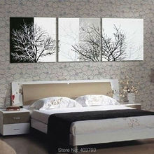 3pc Black White Tree Abstract Hand Painted Wall DECOR Art Oil Painting Canvas Home Decoration