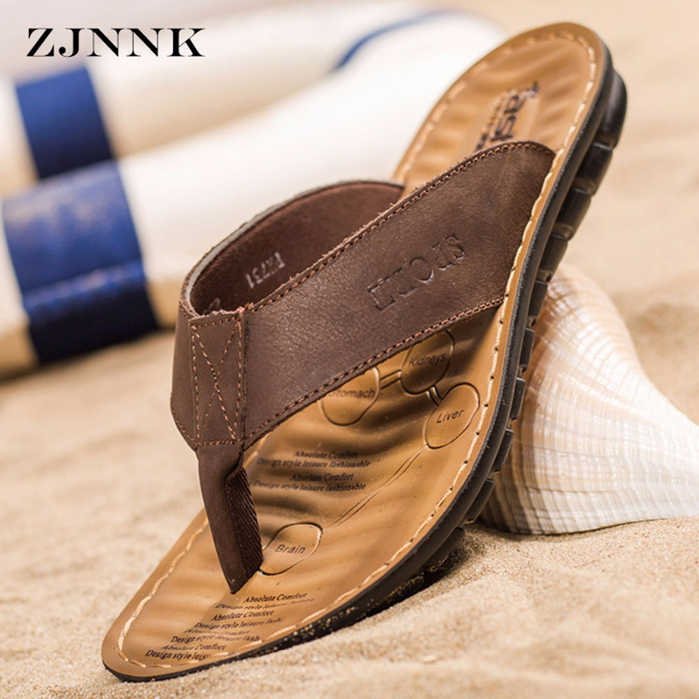 d7f09ee0fa376 ZJNNK Men Slippers Cow Leather Fashion Flip Flops With Soft Sole Trendy  Easy To Match Men Summer Shoes Dropshipping