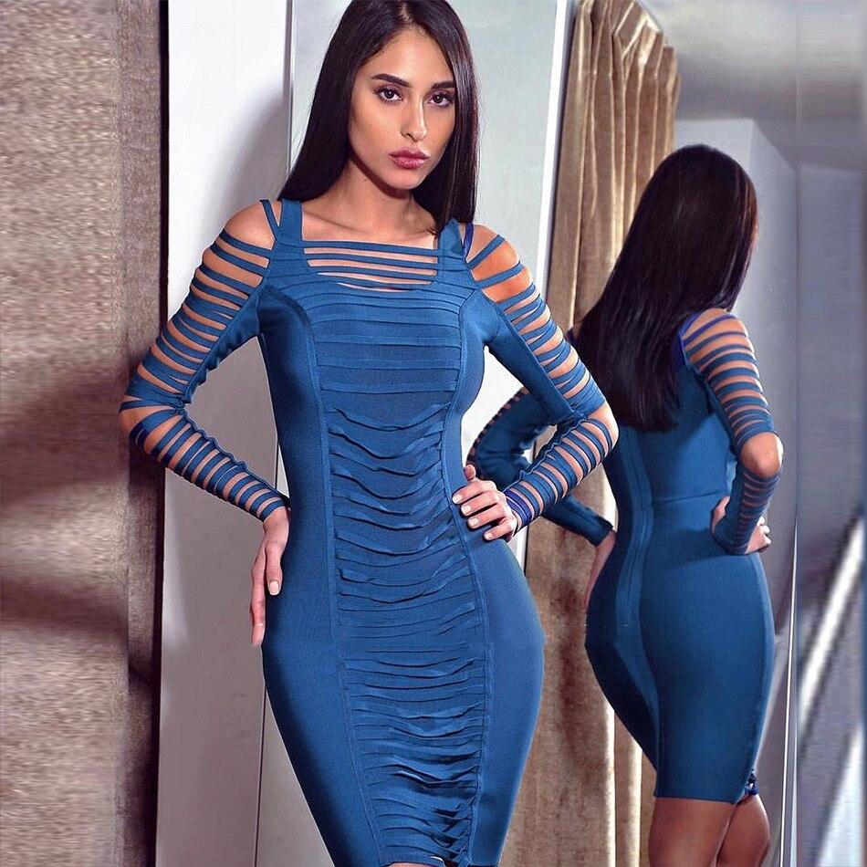 Seamyla 2018 Blue Long Sleeve Bandage Dress Sexy Cut Out Fashion Vestidos Clubwear  Women Celebrity Party dc0beab8d075