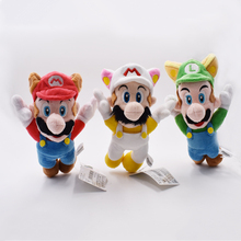 3Styles Free Shipping Super Mario Bros Raccoon Tanooki Mario Kitsune Fox Luigi White Racoon Fire Mario Plush Toy 8″20CM