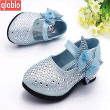 2017 New kids shoes Shiny sequins Leather Shoes with heels Girl Elsa Princess party girls sandals