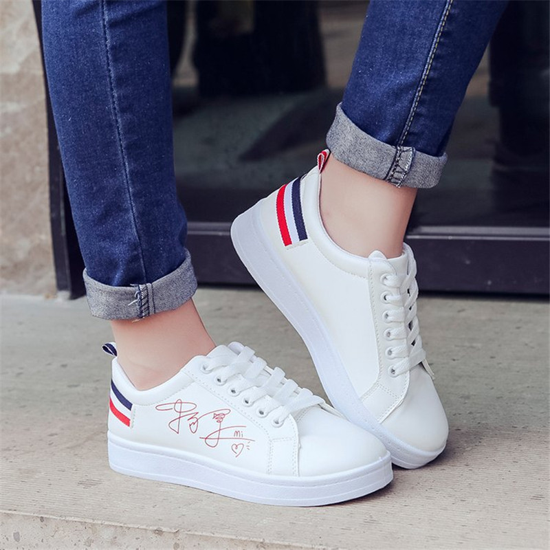 STRAVEL 2019 New Woman Shoes Fashion Woman PU Leather Shoes Ladies Breathable Cute Heart Flats Casual Shoes White Sneakers