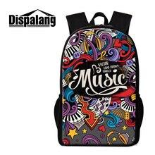 Dispalang 3d musiknote bagpack für gymnasiasten marke designer 16 zoll reise rucksack für frauen mädchen karikatur mochila