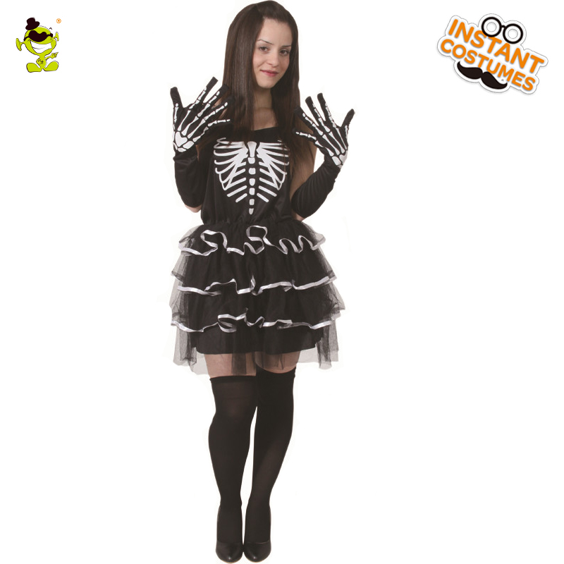 Women Skeleton Costumes Scary Halloween Party  Cosplay Fancy Dress Adult Cool Women Skeleton Sexy Dress Costume