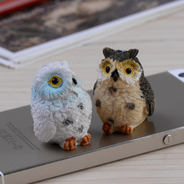 4pcs Artificial Cute Miniature Bird Owl Resin Figurine Craft Fairy Miniature Garden Dollhouse Ornament Home  Decoration DIY 3