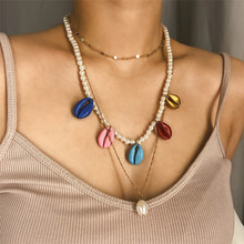 Rainbow Shell Beaded Statement Multilayer Necklace Women Simulated Pearl Chain Choker Necklace Wedding Party Jewelry Gifts joolim high quality long simulated pearl tassel maxi necklace multi layered necklace statement jewelry wholesale