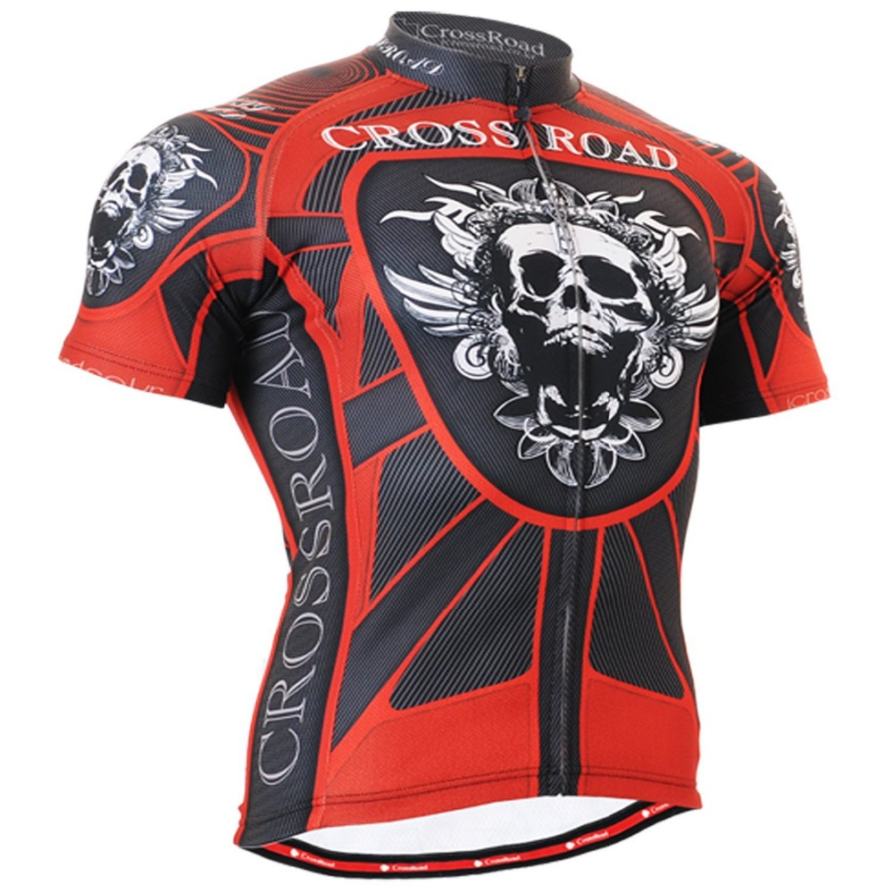 Skull Mens Short Cycling Jerseys Bike Bicycle Top Shirts CrossRoad Breathable Bicycke Equipments Top Wears Red 2016 new men s cycling jerseys top sleeve blue and white waves bicycle shirt white bike top breathable cycling top ilpaladin