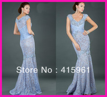 2014 Luxury Blue Cap Sleeve Long Mermaid Mother of the Bride Lace Dresses Gowns M1740