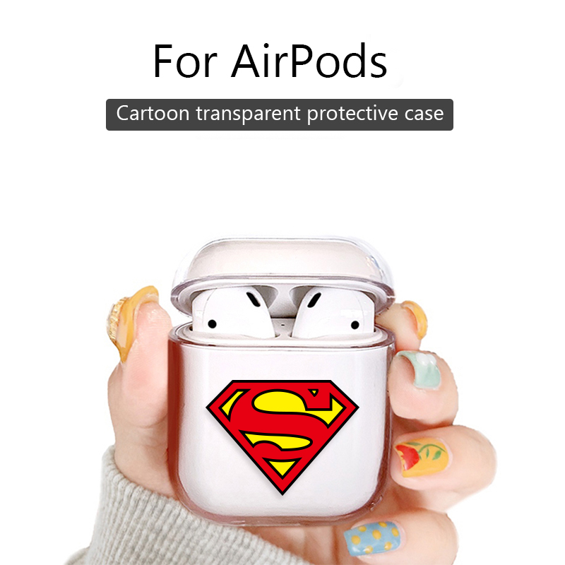 Clear Wireless Bluetooth Earphone Headphones <font><b>Case</b></font> For Apple <font><b>Airpods</b></font> 1 2 Protective Cover Marvel Captain America Batman Superman image