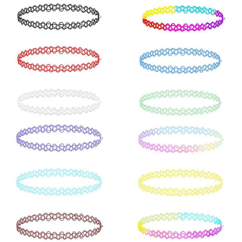 12 шт./упак., колье-чокер разных цветов с татуировкой радуги, винтажное эластичное готическое ожерелье для девушек, Женские Ювелирные изделия...