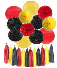Whole Set Yellow Black Red Tissue Paper Pom Pom Honeycomb Ball Paper Lantern Tassels for Wedding Birthday Baby Shower Decor(China)