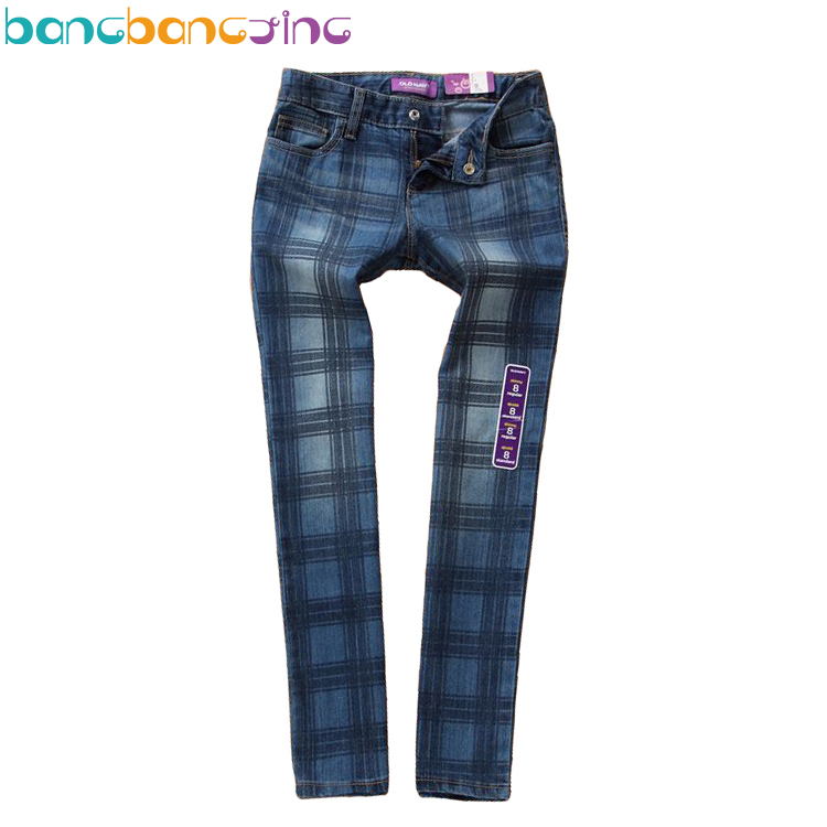 Fashion Kids Spring Big Girl Jeans Trousers Plaid Girls Jeans Skinny Denim Pants Jean Trousers for Girls Kids Jeans 5-16 age men jeans 2017 new fashion full length solid skinny jeans men brand designer clothing denim pants luxury casual trousers male