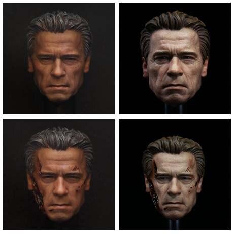 ФОТО 1: 6 Arnold Schwarzenegger Head Carving Terminator 5 Genesis Elderly T800 Brown Hair White Hair Version and Damaged Version