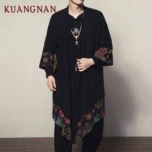 KUANGNAN Trung Quốc Phong Cách Người Đàn Ông Áo Sơ Mi Áo Kimono Áo Choàng  Áo Choàng Nam Màu Đen Áo Sơ Mi Nam Kimono Dài Mens . cd840dea5