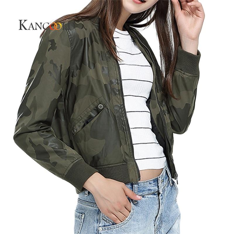 KANCOOLD 2017 Neue Kurze Lederjacke Frauen Herbst Camouflage