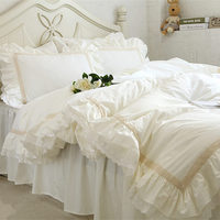 Luxury Embroidery Bedding Set Beige Lace Ruffle Duvet Cover Wedding Decorative Textile Bed Sheet Coverlets Elegant Quilt Cover