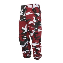 HANGJIA High Street Color Camo Cargo Pants Baggy Tactical Trouser Yong Lovers Cotton