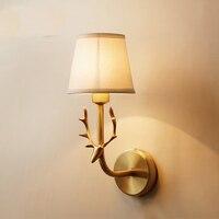 Полный Медь голова оленя Decor настенные светильники E14 настенный светильник балкон проход вход внутренний коридор лампа освещение домашней