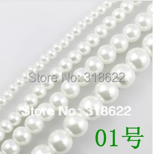 Free shipping wholesale white 01 Loose Imitation Glass Pearls Round Spacer Beads 4mm 6mm 8mm 10mm
