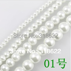 Free shipping wholesale white 01 Loose Imitation Glass Pearls Round Spacer Beads(4mm 6mm 8mm 10mm 12mm 14mm 16mm)