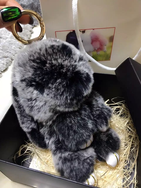 Cute Bunny Purse Charm tote handbag accessories kawaii Rabbit pendants bag charm keychains Mint Green Puffs Genuine Fluffy