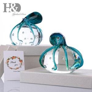Image 5 - Стеклянные фигурки осьминога H & D ручной работы, подарок на Рождество, день рождения, домашний декор, вес сине зеленой бумаги
