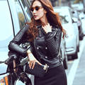 2016 Estilo Europeo Motocicleta BF Chaqueta de Cuero Genuino Mujeres Del Otoño Del Resorte Da Vuelta-abajo Chaqueta Femenina Abrigo Casaco WUJ0650