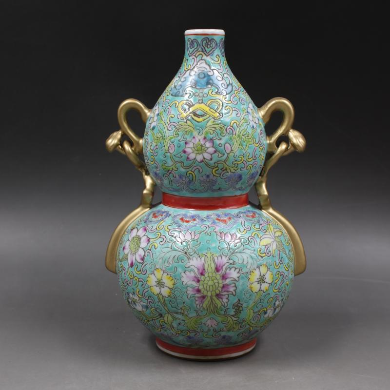 6 Antique QingDynasty porcelain vase,Greenland pastel cucurbit bottle,Hand painted crafts,Decoration,Collection&Adornment