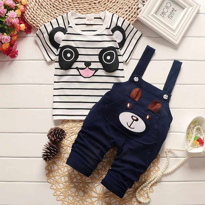 BibiCola boys clothing set baby summer panda cartoon children leisure bib clothes sets for kids suit Striped shirt braces pants