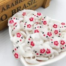 100 шт.,, красные пластиковые пуговицы Hello Kitty, детская одежда, аксессуары PT187