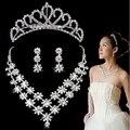 Brilla CZ del cristal del Rhinestone 2 Row novia de la boda Prom joyería conjunto plateado claro Tiara del pendiente del collar de la joyería